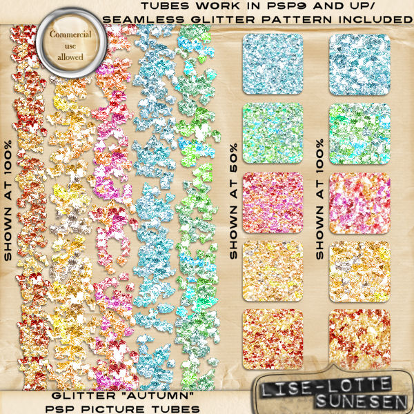 Autumn (PSP Glitter Tubes + Seamless Patterns + 5 BONUS Alphas)