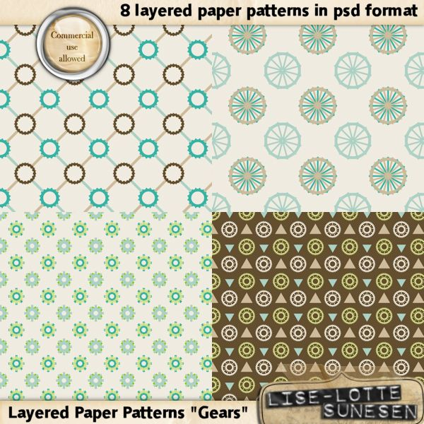 Gears - Layered Paper Templates - CU OK