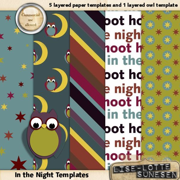 In The Night - Layered Paper And Owl Templates - CU OK