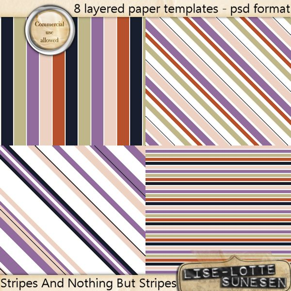 Stripes And Nothing But Stripes - Layered Paper Templates - CUOK
