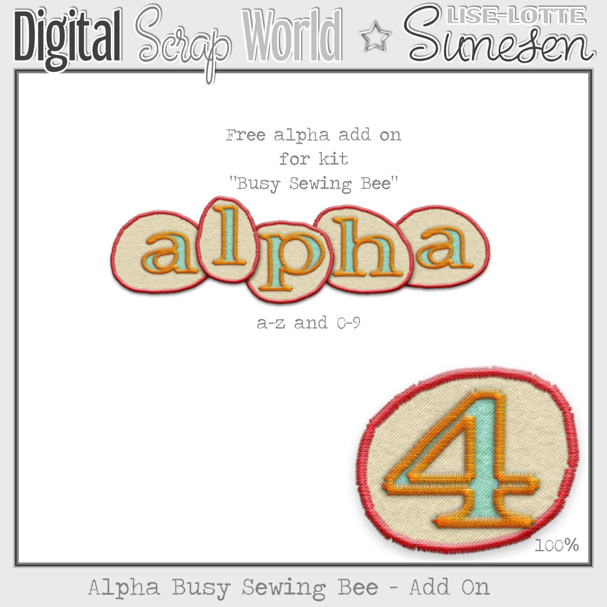 Busy Sewing Bee - Alpha Add On - Free