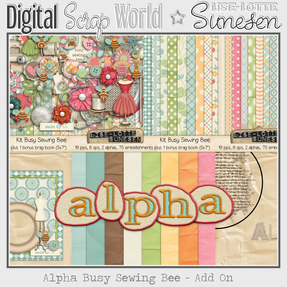 Busy Sewing Bee - Alpha Add On